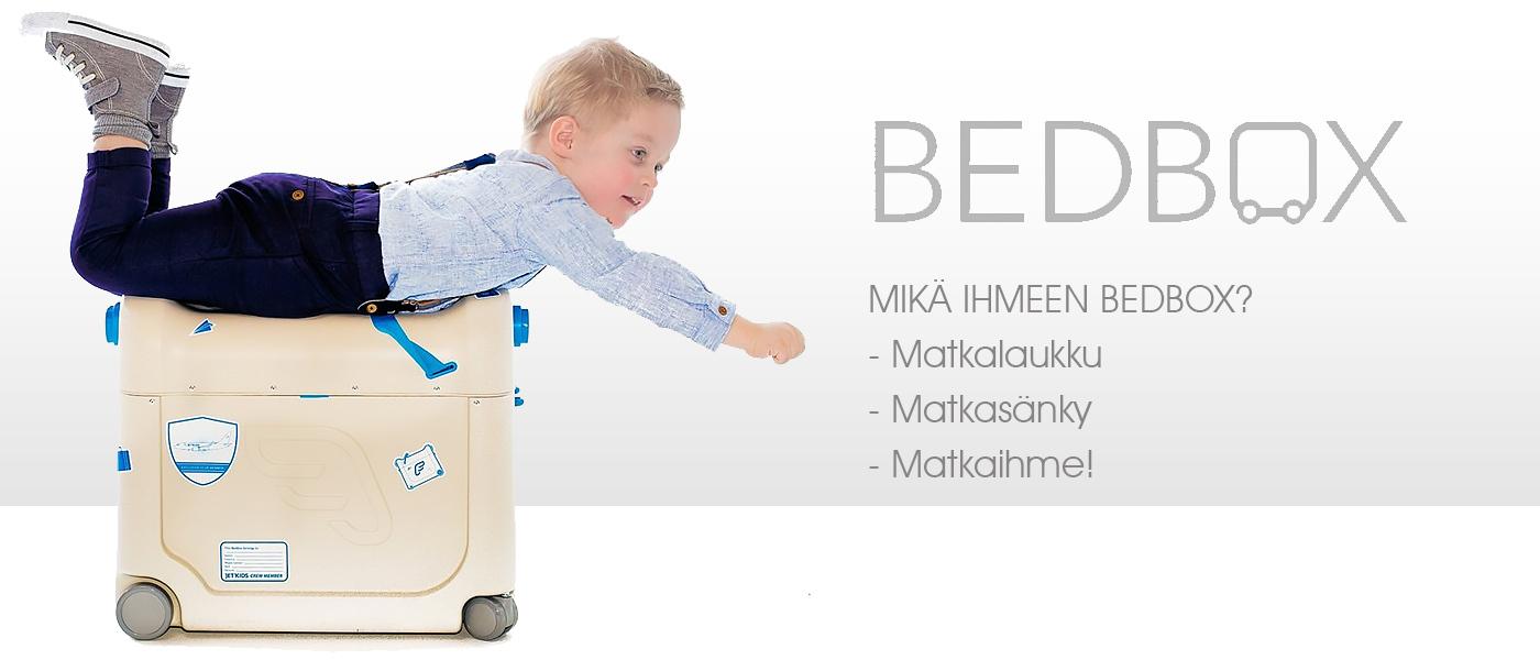 BedBox nyt Lastentarvikkeesta: Päällä istuttava matkalaukku, matkasänky ja jalkatuki kaikki samassa!