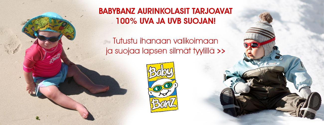 Laadukkaat Australialaiset BabyBanZ aurinkolasit tarjoavat 100% UVA ja UVB suojan! Tutustu valikoimaan ja suojaa lapsesi silmät tyylillä!