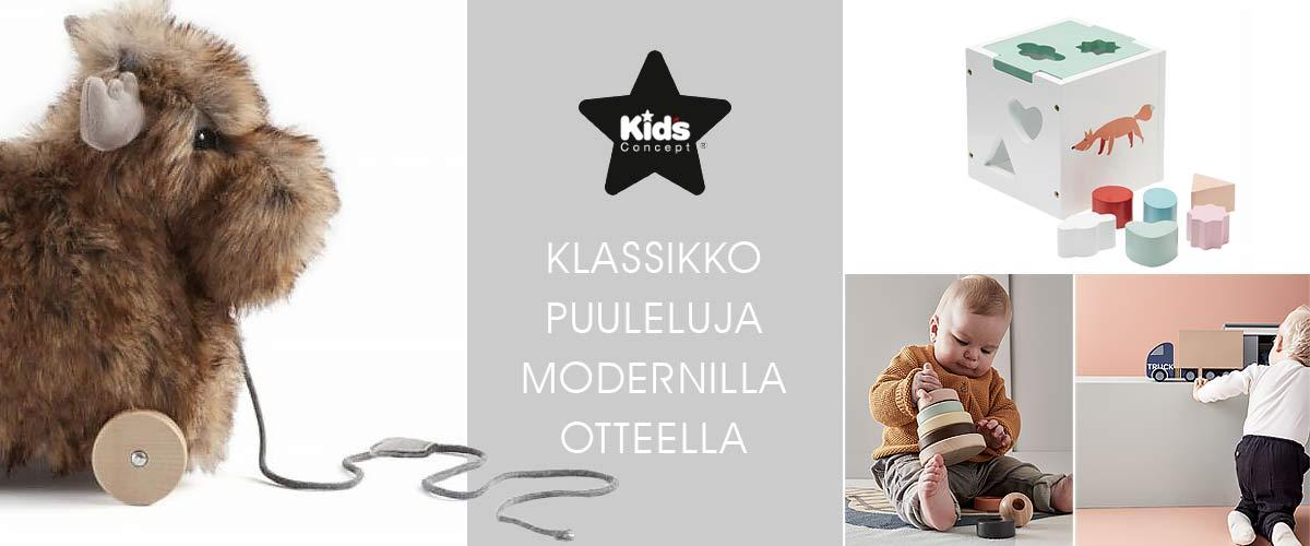 Kids Conceptin ihastuttavat klassiset puulelut modernilla twistillä Lastentarvikkeesta! Tee klassisia löytöjä pukinkonttiin.