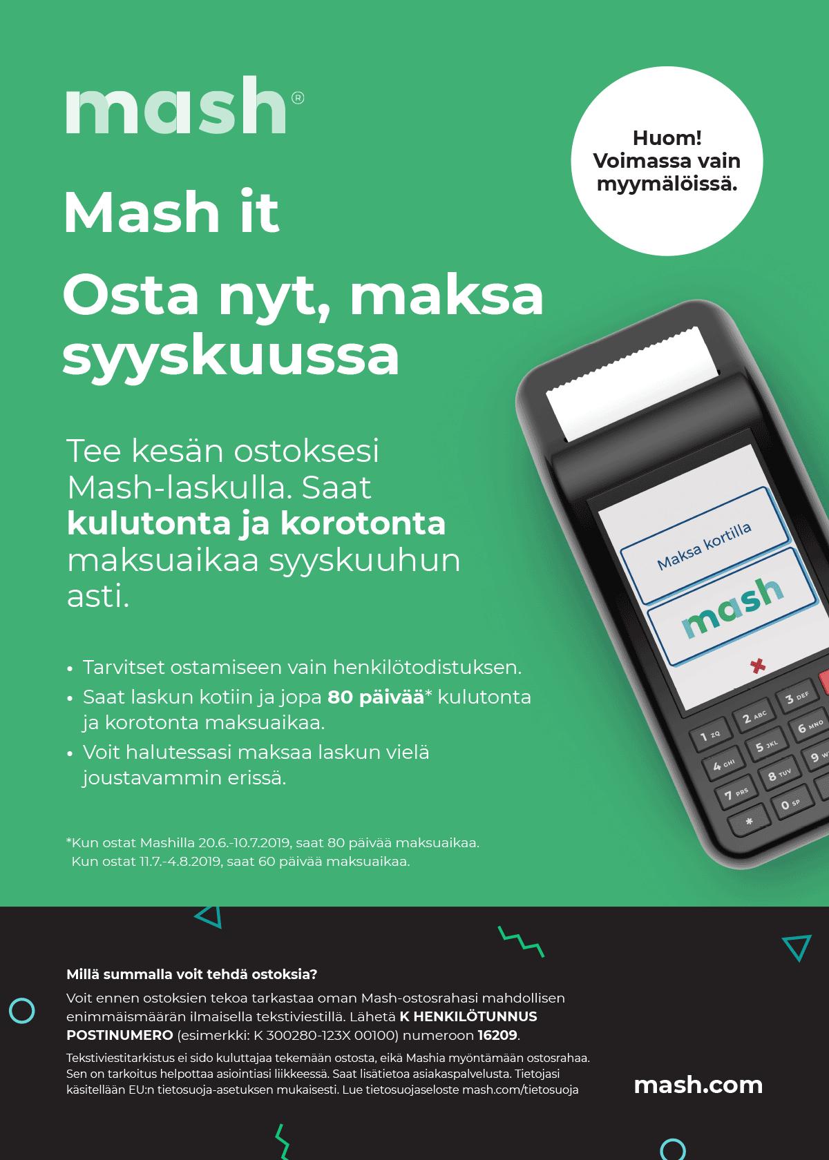 Mash kesäkampanja: Osta nyt, maksa syyskuussa!
