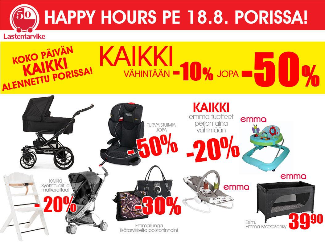 Lastentarvike Porissa Happy Hours 18.8: KAIKKI alennettu!
