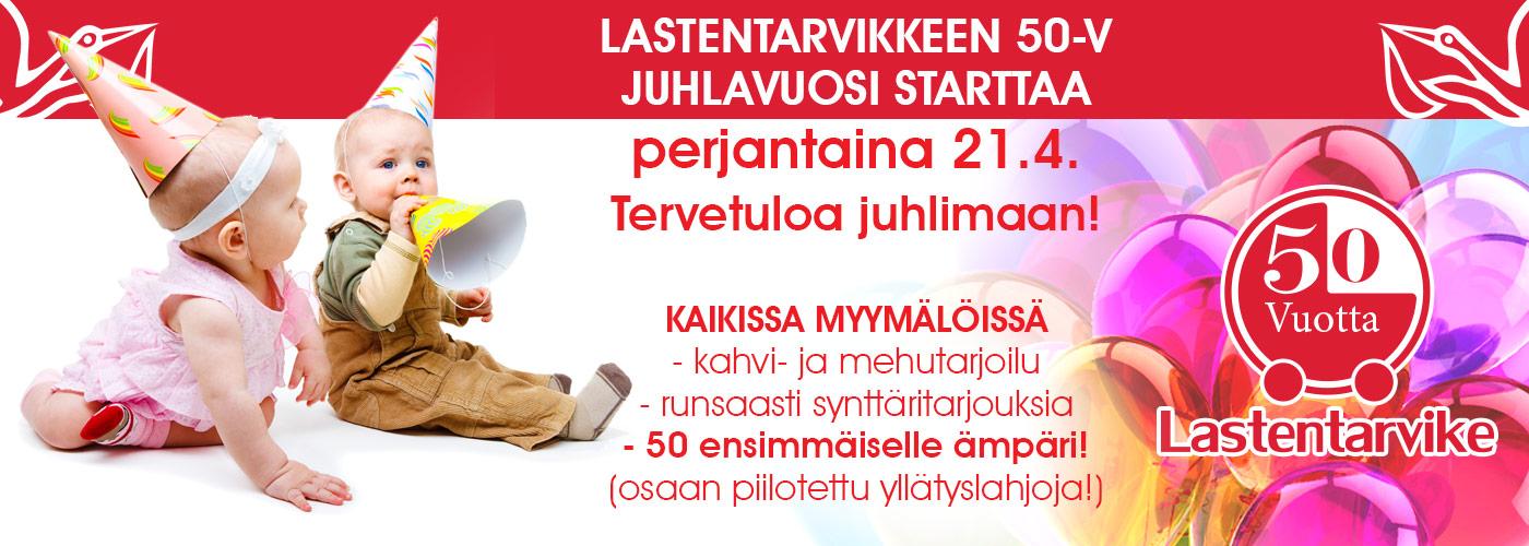 Lastentarvikkeen 50 vuotyisjuhlavuosi starttaa pe 21.4!