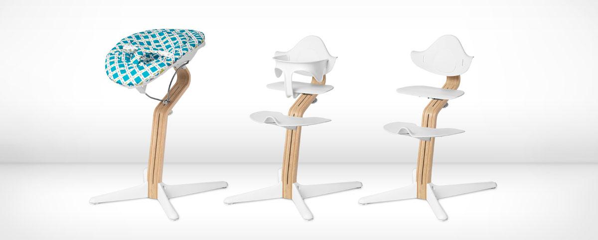 Peter Opsvikin suunnittelema Nomi-syöttötuoli sopii vastasyntyneestä teini-ikäiseen asti. Kuvassa Nomi eri ikäisille lapsille varusteltuna.