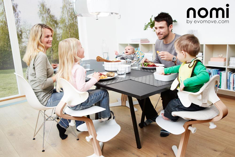 Peter Opsvikin suunnittelema Nomi-syöttötuoli sopii vastasyntyneestä teini-ikäiseen asti!