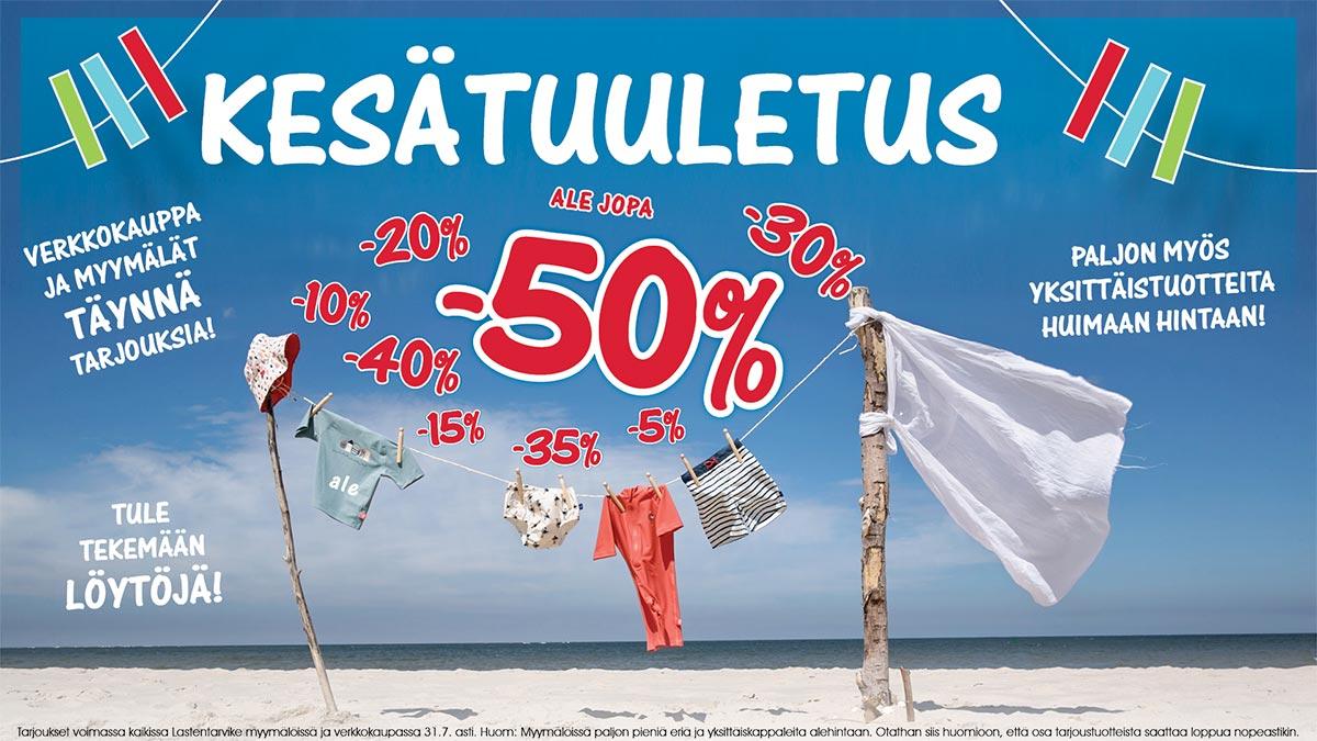 Suomen suurin Lastentarvike ale! kesätuuletus on täällä!