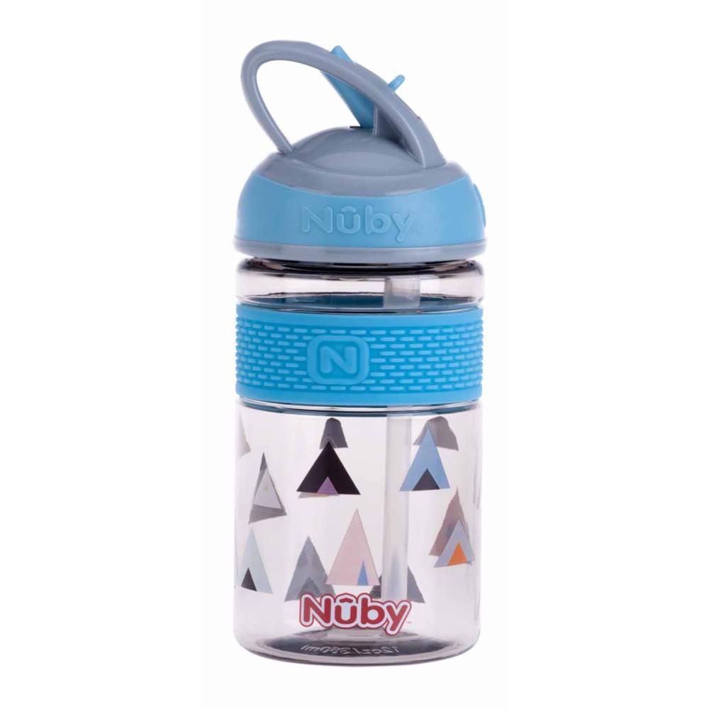 Nuby 2N1 Hard Spout Push Juomapullo 360m, SININEN