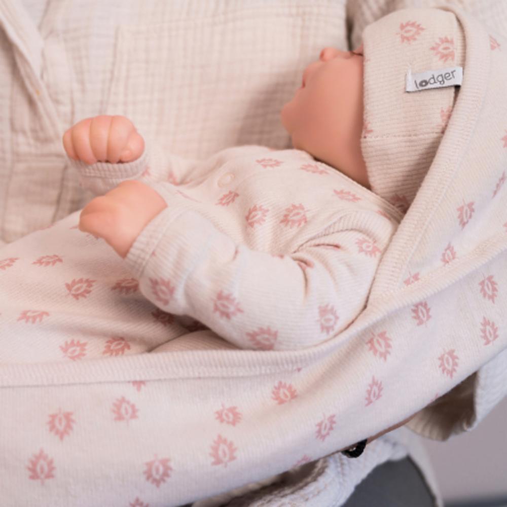 Lodger Nomad Rib vauvan huopa 100x100, Tan-roosa